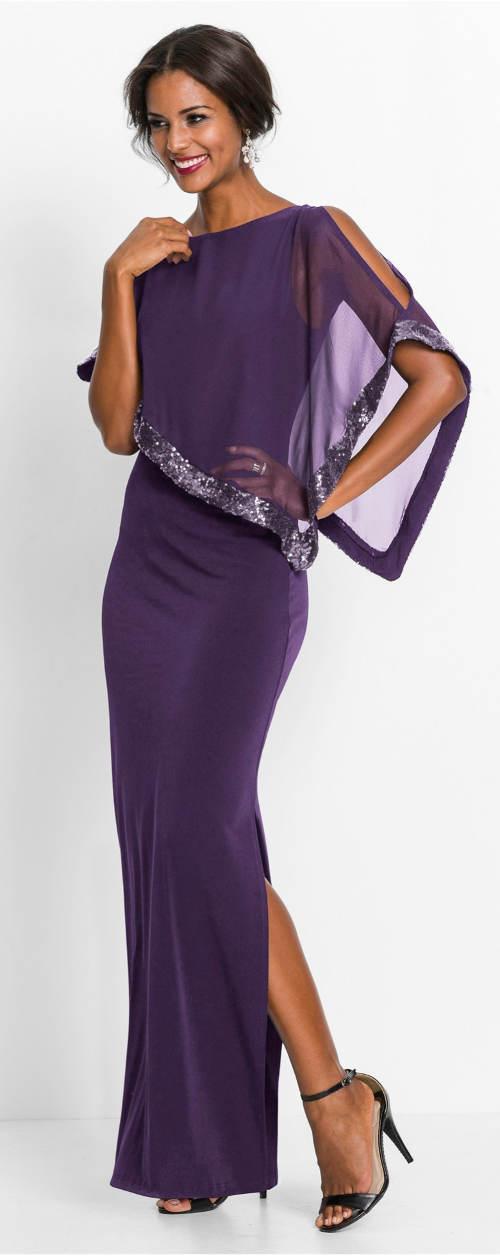 Fialové večerní dámské šaty