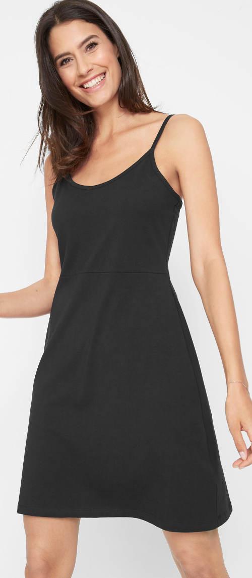 Jednobarevné černé letní šaty na tenká ramínka