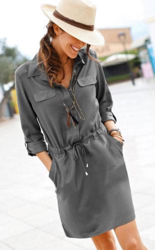 Košilové šaty se stahovací šňůrkou v pase