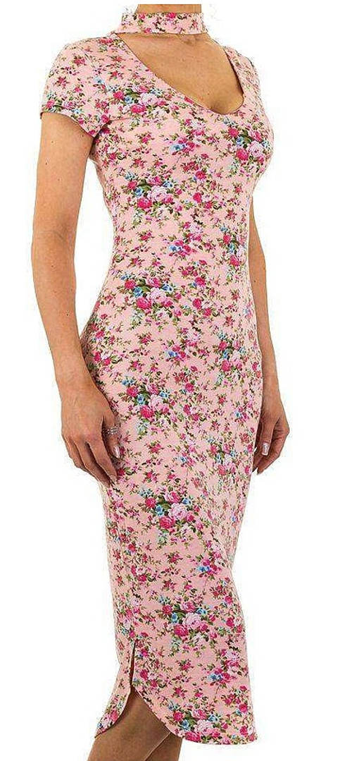 Letní květinové šaty se stojáčkem u krku
