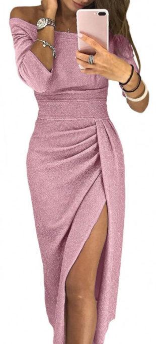 Růžové plesové šaty s vysokým rozparkem