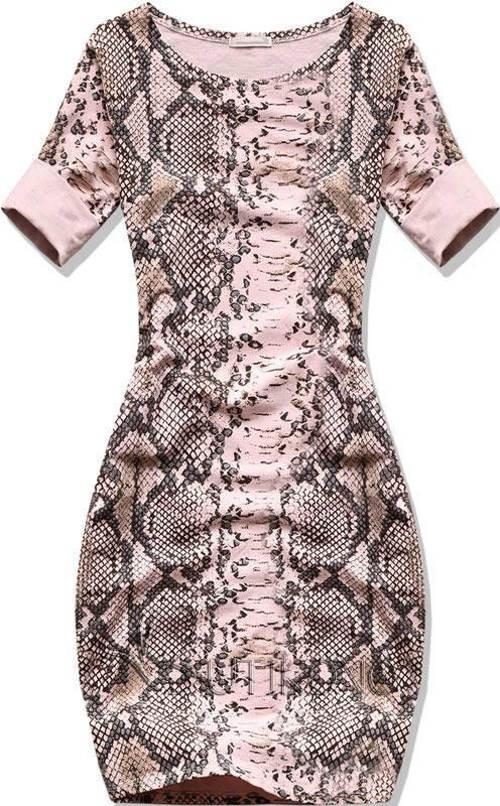 Růžové šaty s potiskem hadí kůže