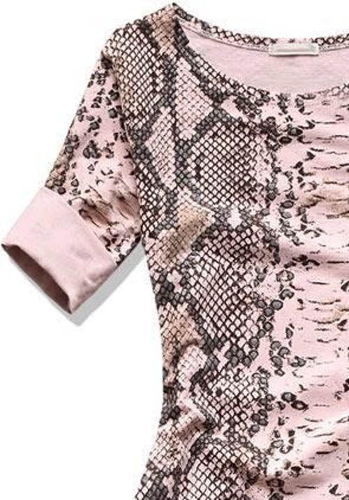 Růžovo-šedé šaty s krátkým rukávem