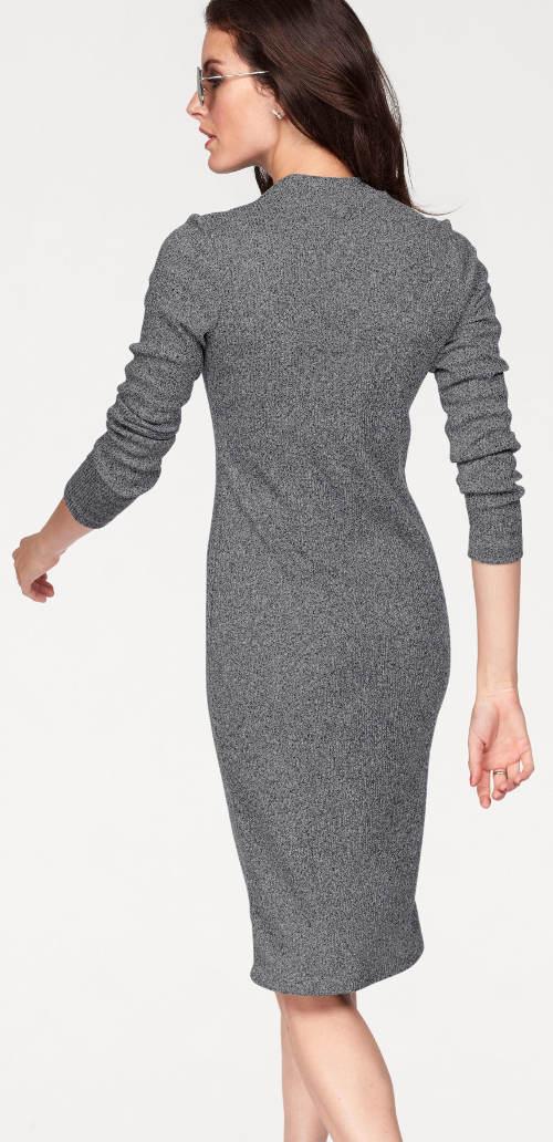 60db0aa5c Šedé zimní šaty s dlouhým rukávem ...