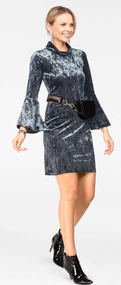 Semišové šaty metalického vzhledu