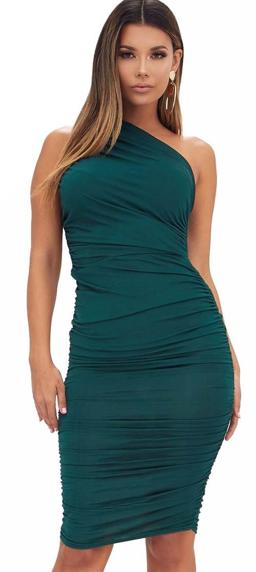 Smaragdové úplé šaty na jedno rameno