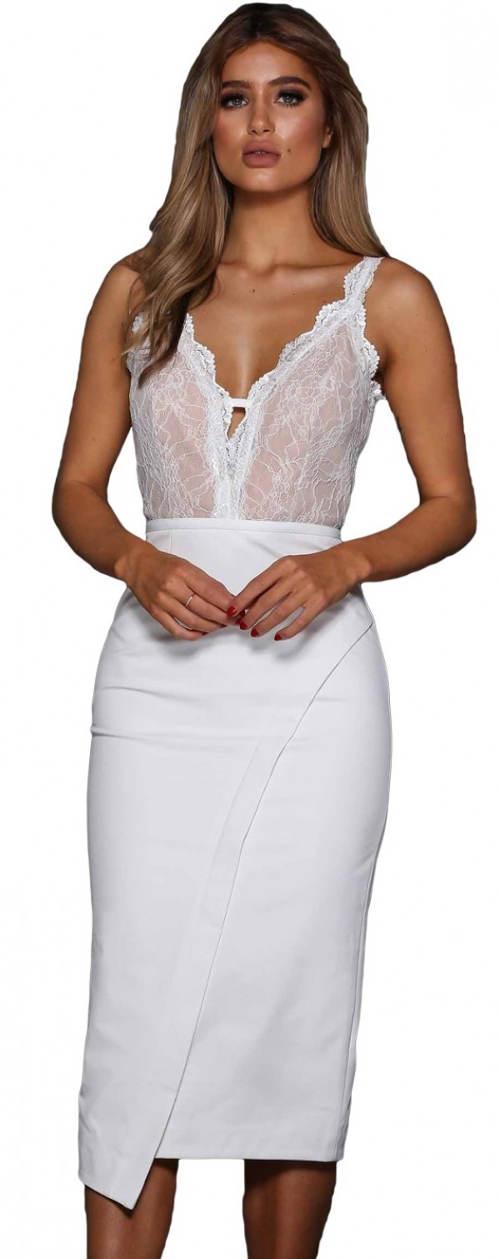 Společenské midi šaty se zavinovací suknSpolečenské midi šaty se zavinovací sukní a krajkovým topem krajkovým topem