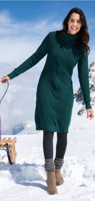 Teplé pletené svetrové midi šaty