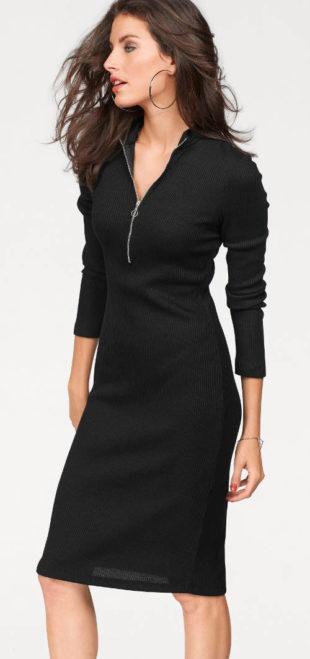 Úpletové šaty s výstřihem na zip