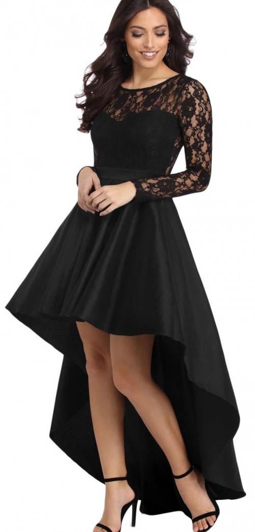 Večerní asymetrické šaty s krajkovým topem
