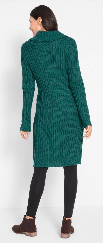 Zelené pletené midi šaty