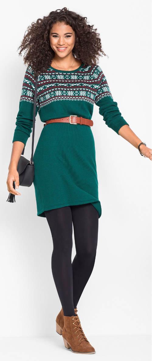Zelené zimní šaty k legínám