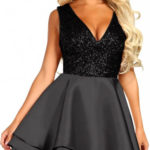 Černé plesové šaty s flitrovým topem a širokou vrstvenou sukní