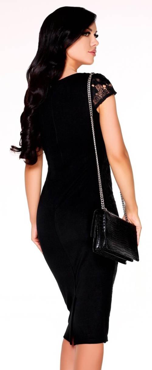 Černé společenské šaty ke kolenům Merribel