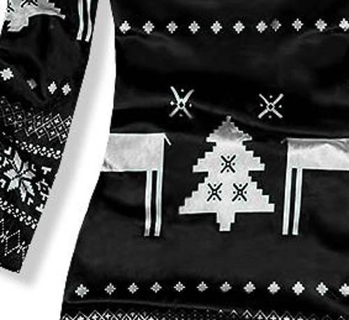 Černobílé vánoční šaty se soby a stromečkem