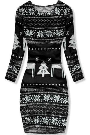 Černobílé zimní sametové šaty s vánočním motivem