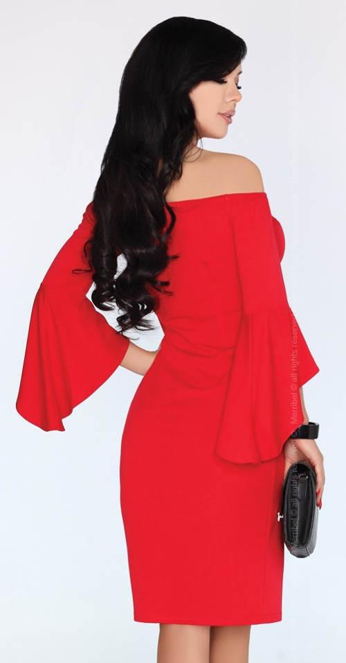 Červené elegantní šaty s volnými volánovými rukávy