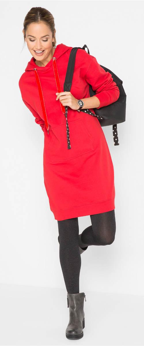 Červené sportovní mikinové šaty