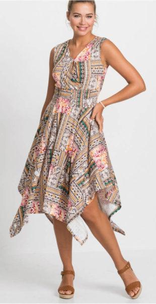 Dámské šaty s překládaným výstřihem a širokou asymetrickou sukní