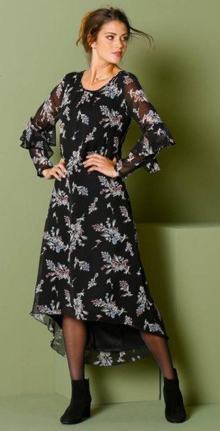 Dlouhé černé asymetrické šaty s květinovým motivem