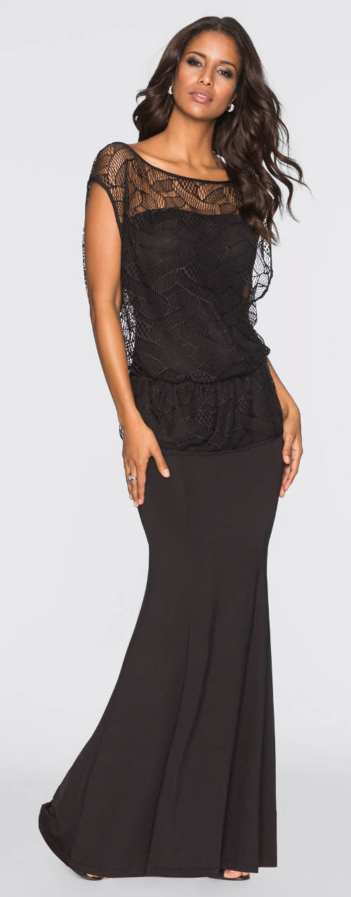 Dlouhé černé krajkové plesové šaty