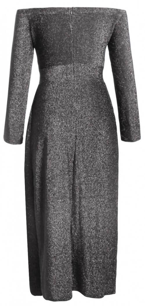 Dlouhé šedé společenské dámské šaty