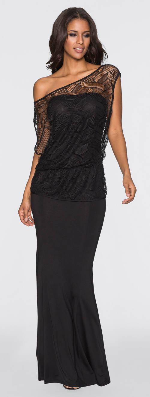 Dlouhé společenské šaty s topem na jedno rameno