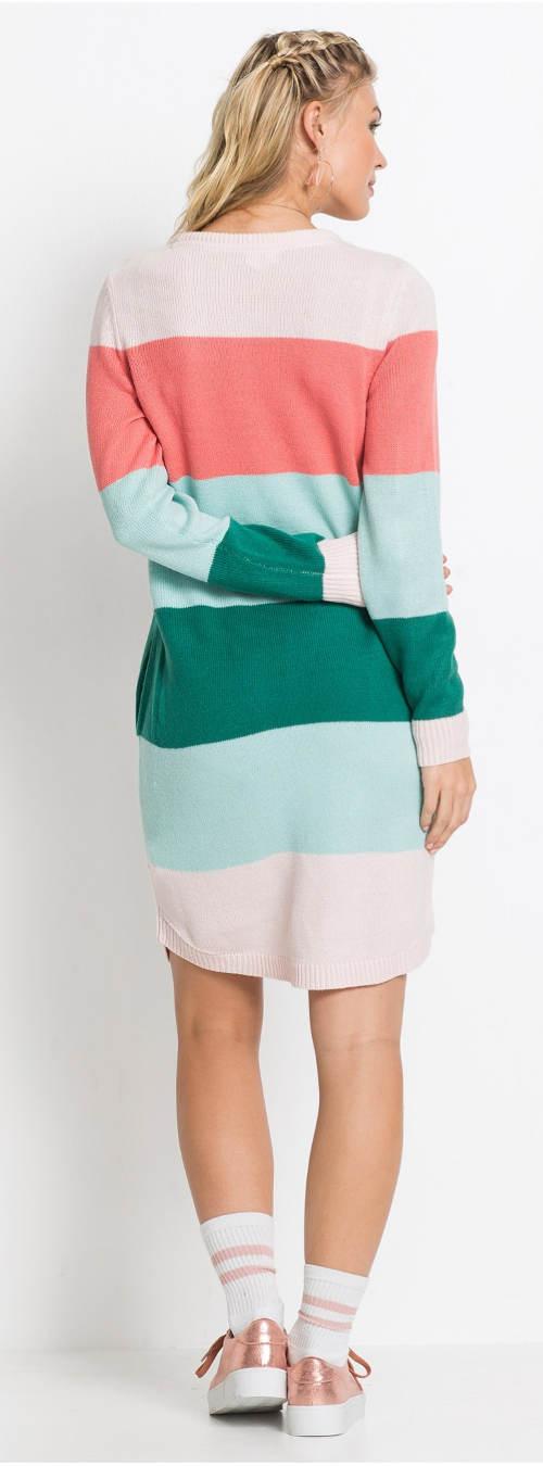 Dlouhý pruhovaný dámský svetr