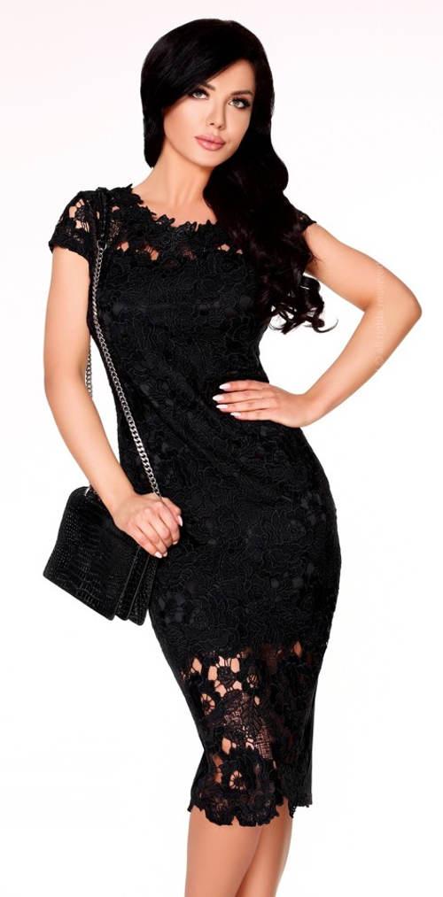 Elegantní krajkové pouzdrové šaty