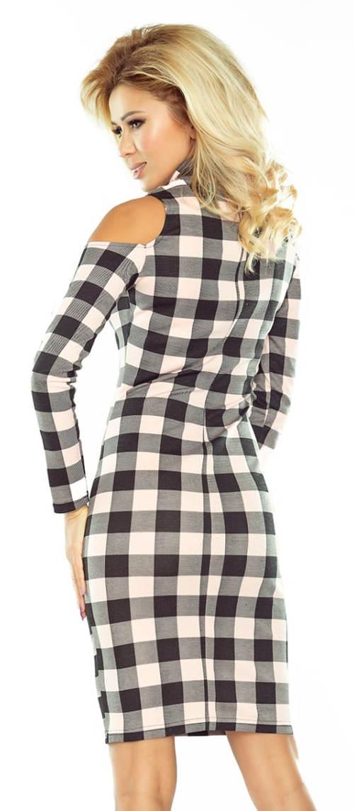 Kostkované šaty s průstřihy na ramenou