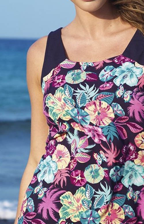 Květinové plážové šaty bez rukávů