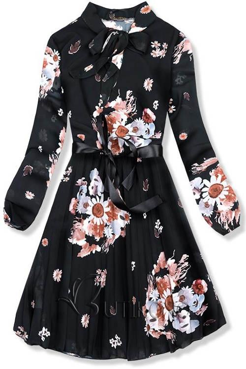 Lehké černé květinové šaty Ivy