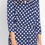 Levné puntíkované šaty s průvlekem v pase