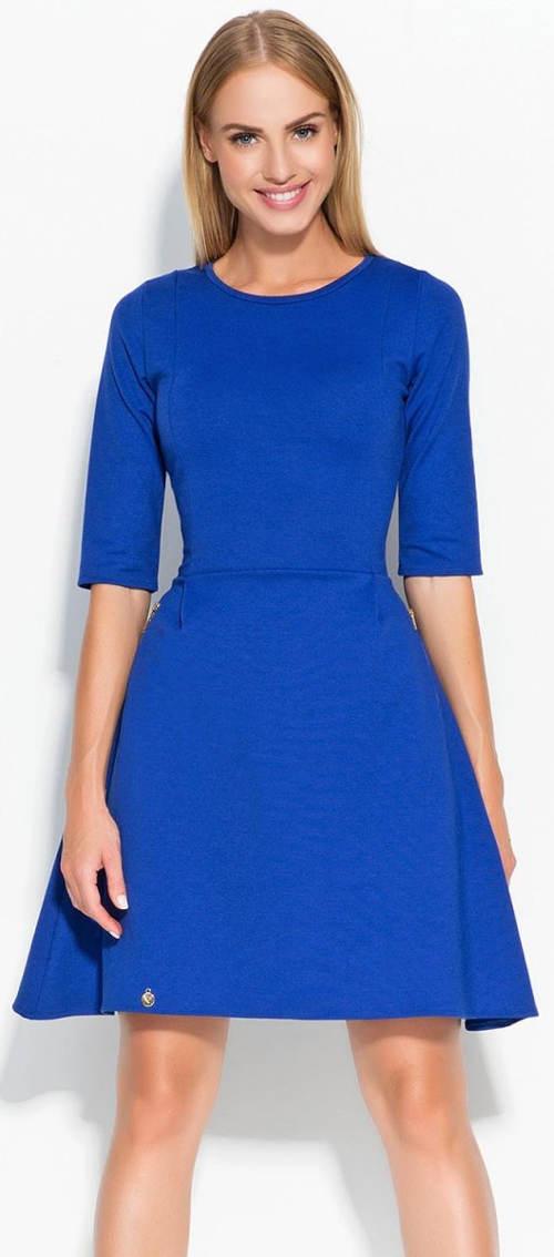 Modré dámské šaty s 3/4 rukávy
