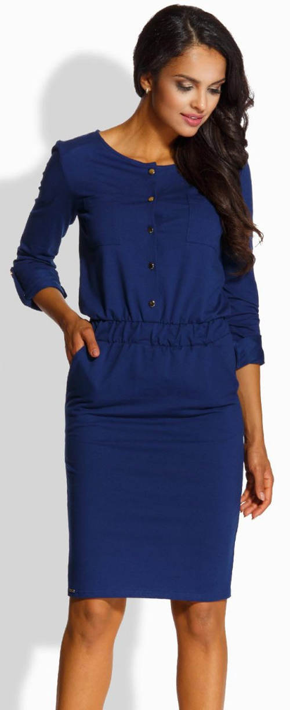 Modré dámské šaty s gumou v pase