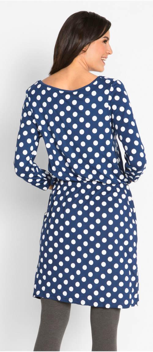 Modré puntíkované šaty k legínám