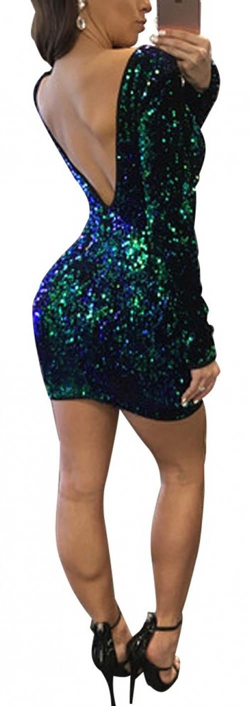 Plesové flitrové mini šaty s velkým výstřihem na zádech