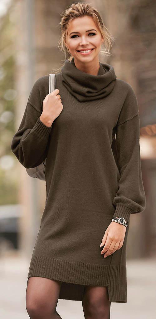Pletené khaki šaty s odnímatelným límcem