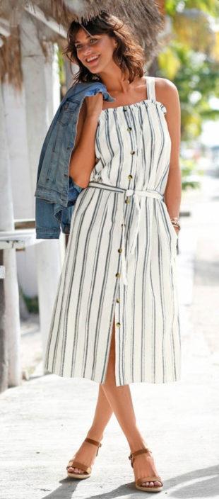 Pruhované modro-bílé celopropínací dámské šaty