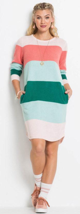 Pruhované svetrové dámské šaty Bonprix
