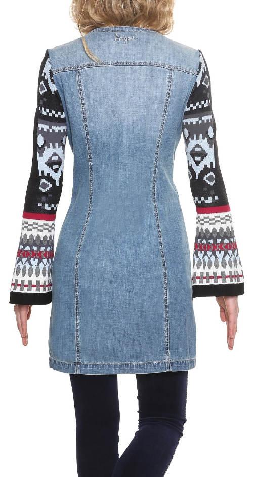 Riflové dámské šaty s dlouhými rukávy