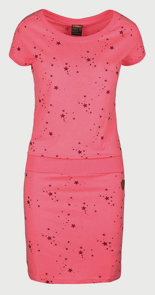 Růžové dámské šaty prodlužující postavu