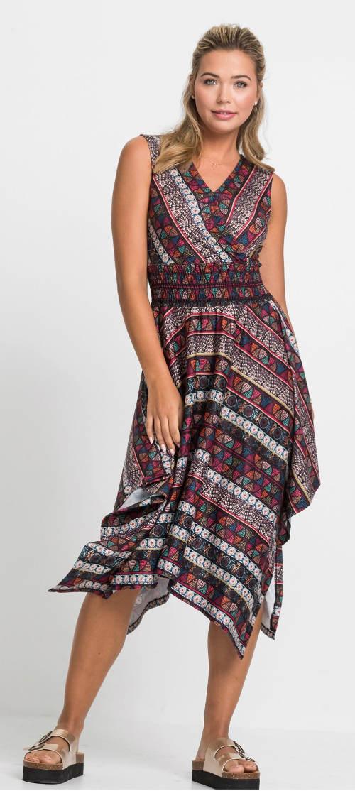 Šaty s nařasenou vsadkou v pase