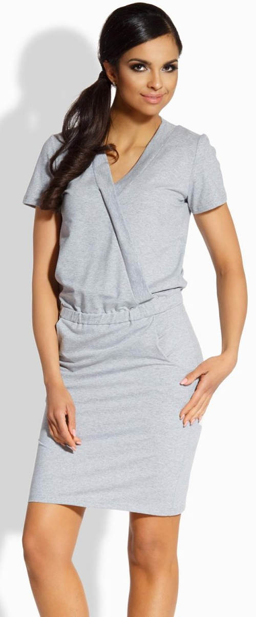 Šedé letní šaty s překladem přes prsa
