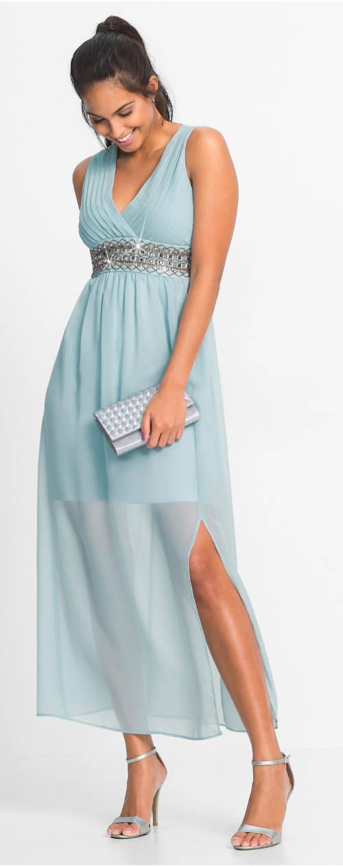 Světle modré dlouhé plesové šaty