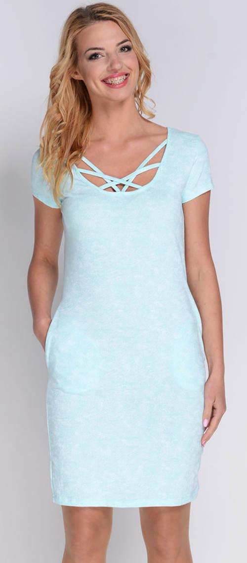 Světle modré letní šaty s kapsami
