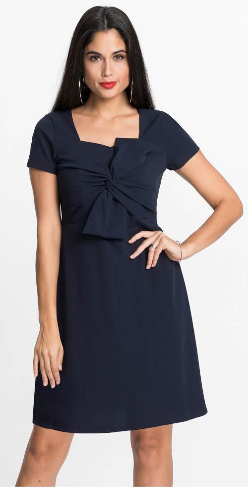Tmavě modré šaty s velkou mašlí