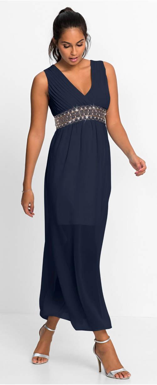 Tmavě modré dlouhé společenské šaty