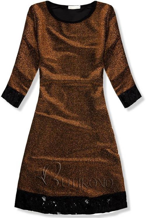 Třpytivé zlaté šaty s polodlouhými rukávy