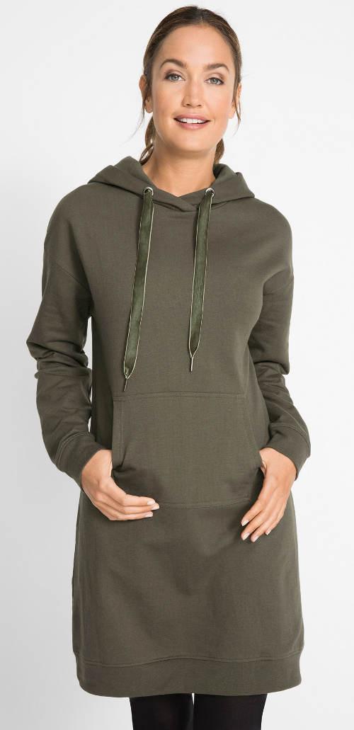 Zimní mikinové šaty s klokaní kapsou